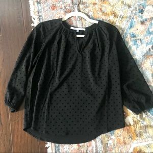 Collective concepts black polka dot blouse XS